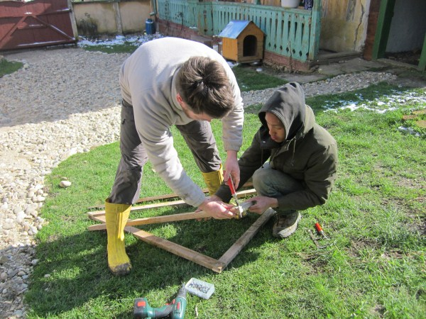 Chicken tractor stage 1 with Chris (NZ) and Steven (MY)