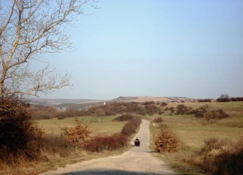 Drumul spre sat, serpuind molcom printre dealuri